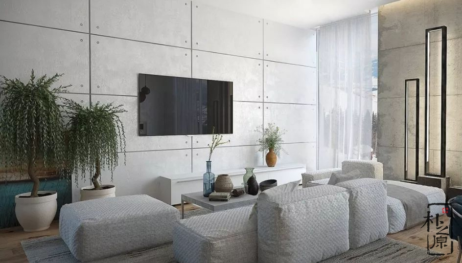 清水混凝土打造的电视背景墙,展示不一样的风格